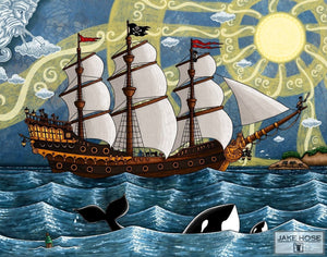 pirates, pirate ships, treasure, skeletons, pirate parrots, crabs,orca whales, whimsical, Jake Hose
