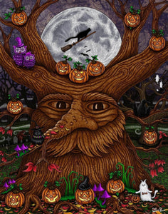 halloween, cats, pumpkins, witches, mosters, haunted house, art, whimsical, Jake Hose