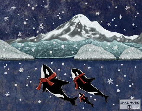Christmas art by Jake Hose, orca whales and scarves, Seattle Christmas, orca whales, Seattle cats, Santa, elves, ferry boats, Pacific Northwest, Tacoma, Washington State, Puget Sound, San juan islands, narrows bridge tacoma, Olympic Penninsula