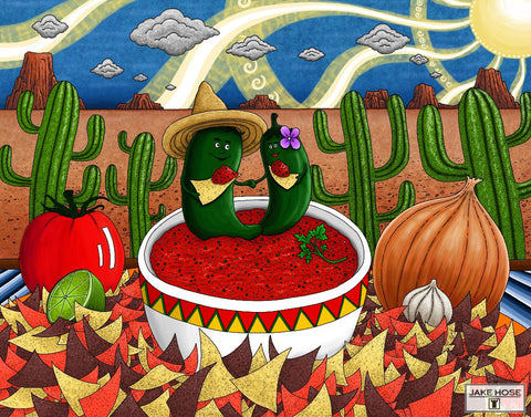 fun southwest art, cactus, chihuahua dogs, chips and salsa art, art prints for kitchen, chili pepers, Cinco De Mayo festive artwork by Jake Hose.