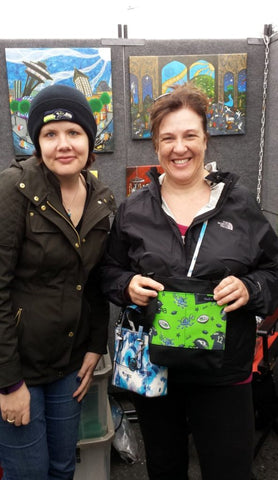 Kimali Tote bag, Lil Fiona style, featuring Seattle Seahawks football fan imagery, 12th man.