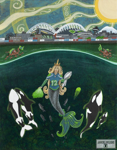 12th man, 12th, Seattle, football, mermaid, orca whales, art, whimsical, Jake Hose