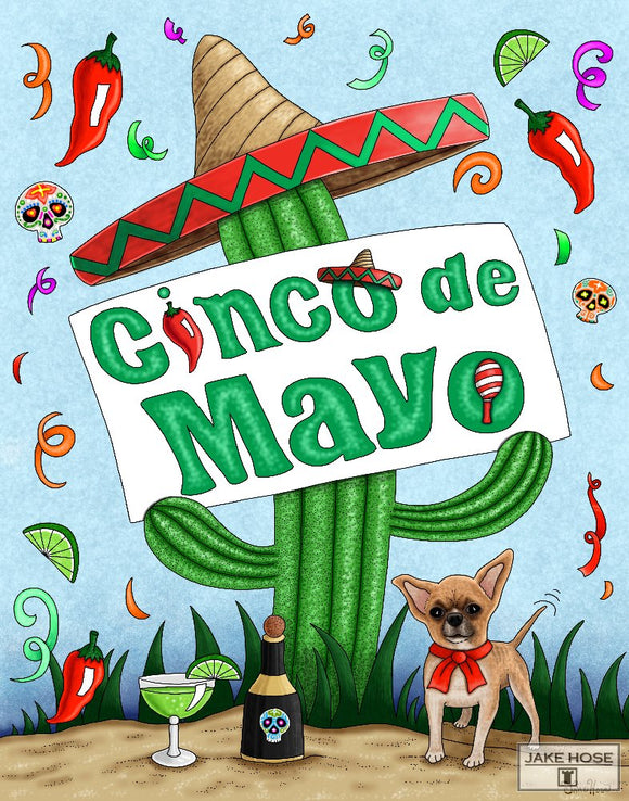 Cinco De Mayo with Cactus art by Jake Hose, 11x14 art prints, 14x18 canvas giclee, 18x24 canvas giclee