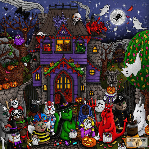Halloween, cats, haunted house, mansion, trick or treat, art, whimsical, Jake Hose