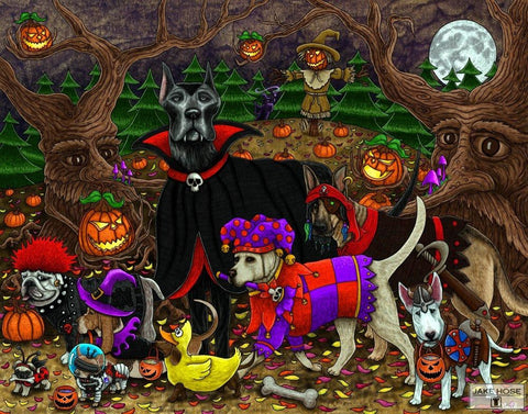Halloween, dogs, trick or treating, pumpkins, art, whimsical, Jake Hose