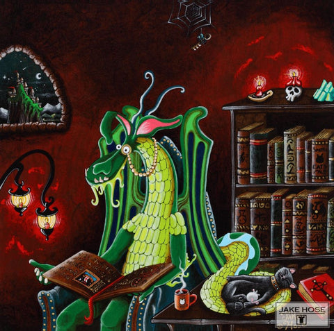 A Dragons Fairytale Whimsical Art By Jake Hose - Fun Whimsical Art 11X14 Print, 12x12 canvas giclee, 20x20 canvas giclee