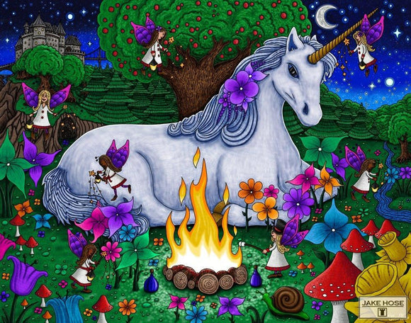 A Magical Night Whimsical Art By Jake Hose - Fun Whimsical Art 11X14 Print Campfire Canvas Giclee Castle