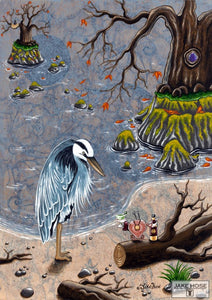 A Toast To The Heron Whimsical Art By Jake Hose - Fun Whimsical Art 11X14 Print Blue Canvas Giclee Crab