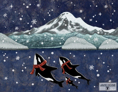 orca whales, san juan islands, washington state, christmas, art, whimsical, Jake Hose