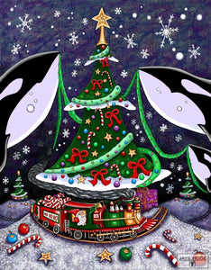 An Orcas Christmas Whimsical Art By Jake Hose - Fun Whimsical Art 11X14 Print Canvas Giclee Decorations