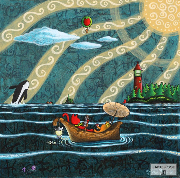 San Juan Islands, orca whales, art, cats, whimsical, lighthouse, Jake Hose