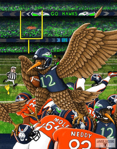 12 fan, 12th, Seattle, football, superbowl, art, whimsical, Jake Hose