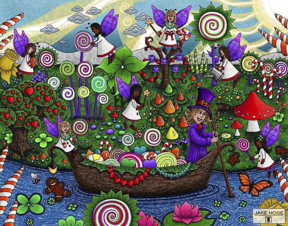 Candy Garden Whimsical Art By Jake Hose - Fun Whimsical Art 11X14 Print Candy Colorful Faery