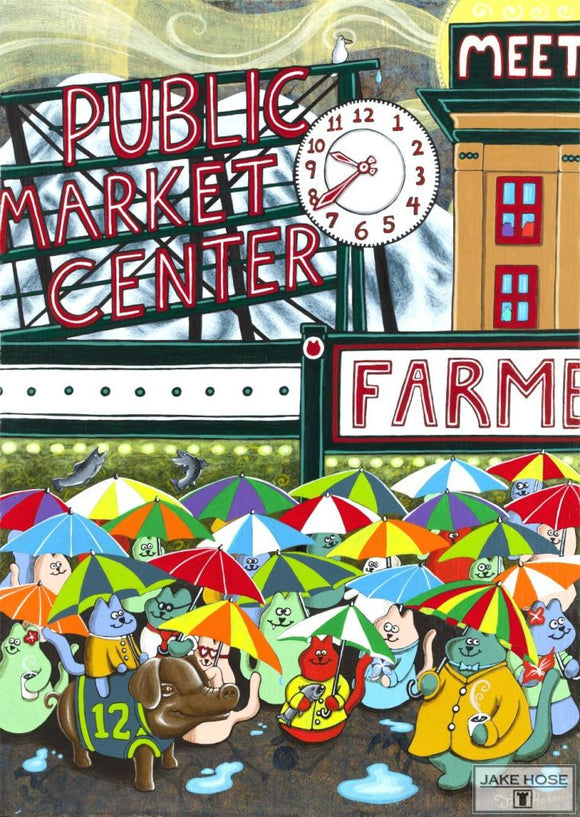 Cats At Pike Place Market Whimsical Art By Jake Hose - Fun Whimsical Art 11X14 Print, 14x18 canvas giclee, 18x24 canvas giclee