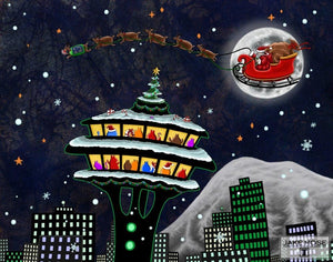 Christmas At The Space Needle Whimsical Art By Jake Hose - Fun Whimsical Art 11X14 Print Canvas Giclee Cat Cats