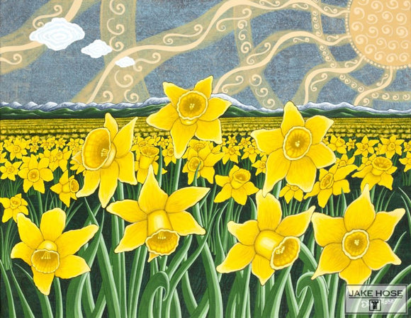 Daffodil Field By Whimsical Artist Jake Hose - Fun Whimsical Art 11X14 Print Art Canvas Giclee Daffodils