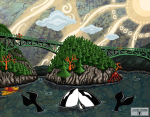 Deception Pass Whimsical Art By Jake Hose - Fun Whimsical Art 11X14 Print Canvas Giclee Cats Bridge