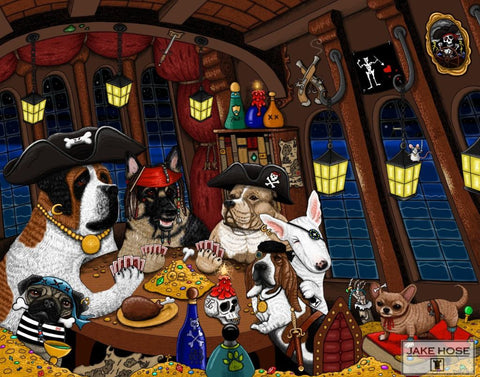 Dogs playing poker, dogs as pirates playing poker on a pirate ship. Pirate dogs include; A German Shepherd, Pit Bull, Bull Terrier, Chihuahua, Pug, St. Bernard, and a Basset Hound