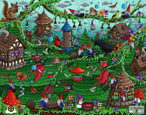 gnomes, birds, bird houses, bird feeders, art, whimsical, Jake Hose