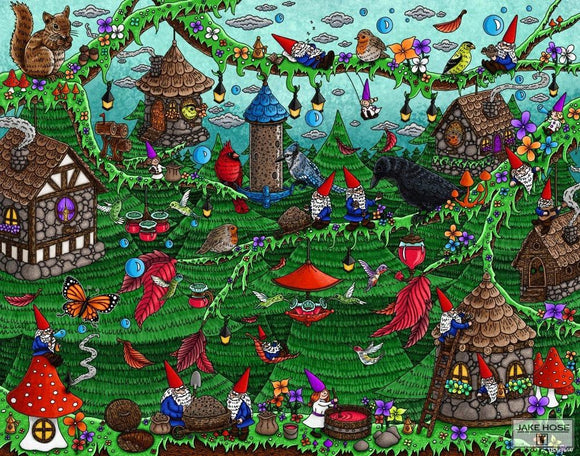 Feeding Frenzy Whimsical Art By Jake Hose - Fun Whimsical Art 11X14 Print Bird Feeder House Birds