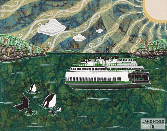 Ferry In The San Juans By Whimsical Artist Jake Hose - Fun Whimsical Art 11X14 Print Art Canvas Giclee Ferry Fun