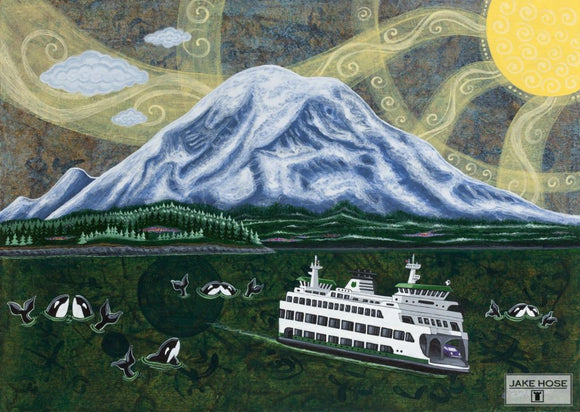 Ferry Under Mount Rainier Whimsical Art By Jake Hose - Fun Whimsical Art 11X14 Print Boat Canvas Giclee Ferry
