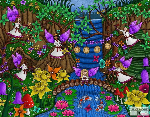 fairies, forest, daffodils, lotus, koi fish, art, whimsical, Jake Hose