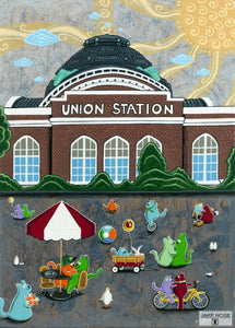 Fun At Union Station Whimsical Art By Jake Hose - Whimsical Art 11X14 Print Canvas Giclee Cat Cats