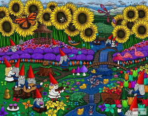 gnomes, garden, flowers, tulips, daffodils, lavender, sunflowers, art, whimsical, Jake Hose