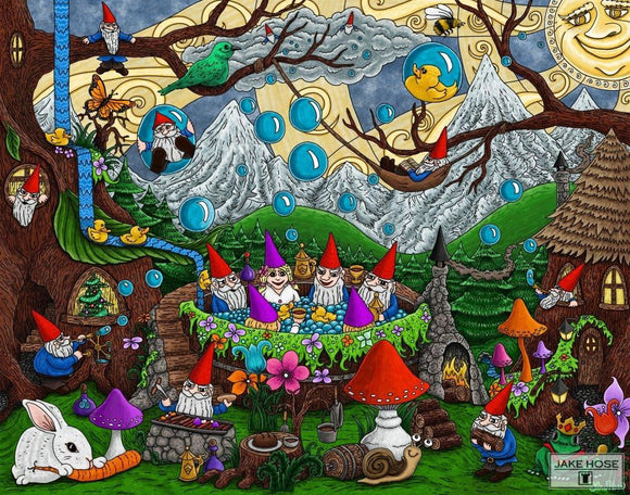 Gnomes And Bubbles Whimsical Art By Jake Hose - Fun Whimsical Art 11X14 Print Birds Blowing Bubbles
