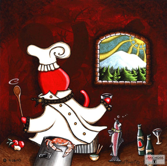 cat, chef, Mount Rainier, salmon, washington, art, whimsical, Jake Hose