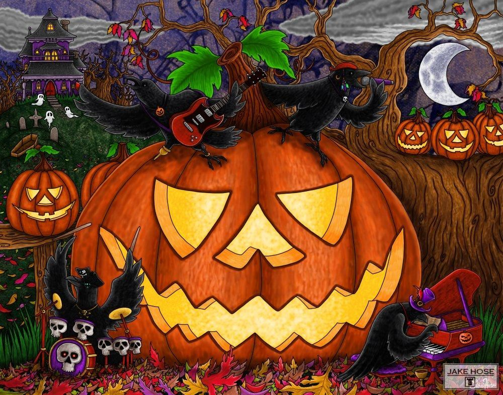 Halloween, ravens, rock, music, jack-o'-lantern, haunted house, art, whimsical, Jake Hose