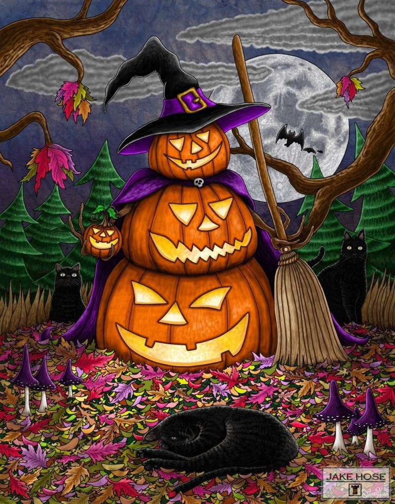 Halloween, black cats, pumpkins, magic, witch, art, whimsical, Jake Hose