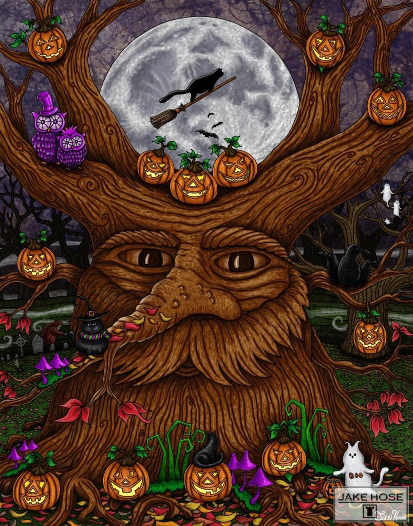 Halloween, tree, black cats, pumpkins, witches, art, whimsical, Jake Hose
