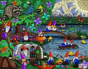 happy campers, gnomes, camping, fishing, raccoon, birds, camper, art, whimsical, Jake Hose