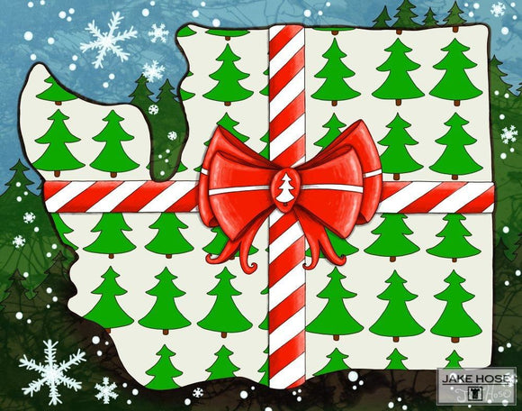 Happy Holidays Washington Whimsical Art By Jake Hose - Fun Whimsical Art 11X14 Print Bow Canvas Giclee Christmas