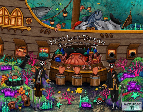 pirates, tavern, sunken ship, skeleton, octopus, art, whimsical, Jake Hose