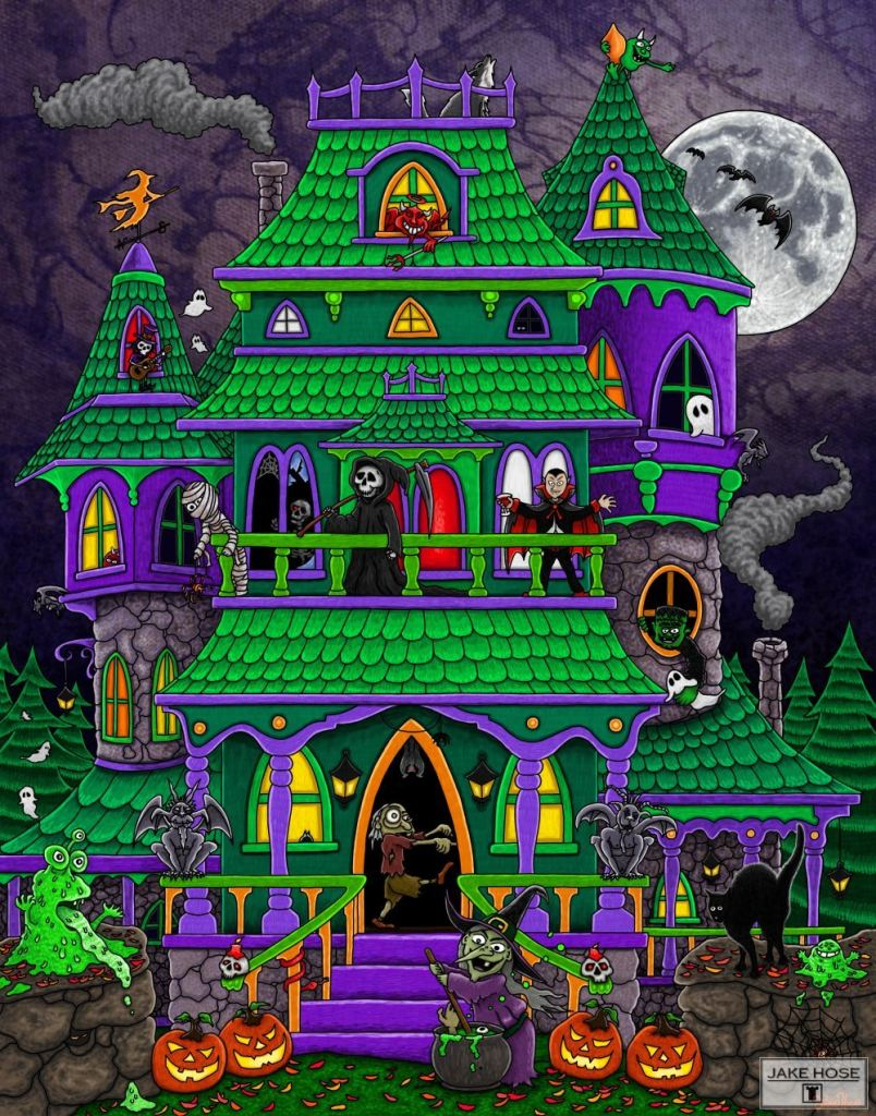 Haunted House Whimsical Art By Jake Hose - Fun Whimsical Art 11X14 Print, 14x18 canvas giclee, 18x24 canvas giclee