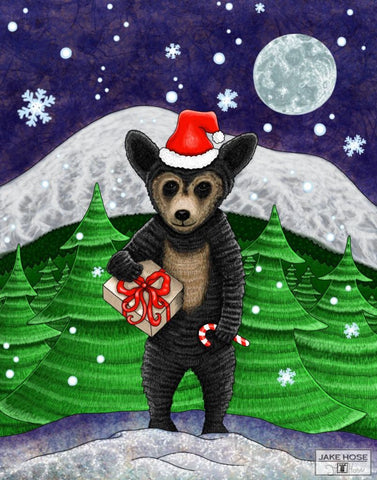 Holiday Black Bear Whimsical Art By Jake Hose - Fun Whimsical Art 11X14 Print, 16x20 canvas giclee, 18x24 canvas giclee