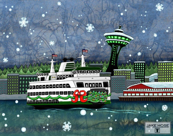 Holiday Ferry In Seattle Whimsical Art By Jake Hose - Fun Whimsical Art 11X14 Print, 16x20 canvas giclee, 18x24 canvas giclee