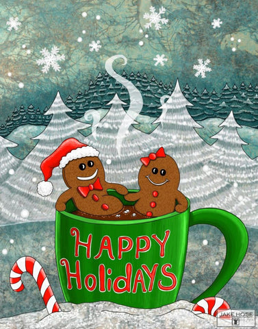 Hot Cocoa And Gingerbread Whimsical Art By Jake Hose - Fun Whimsical Art 11X14 Print, 16x20 canvas giclee, 18x24 canvas giclee