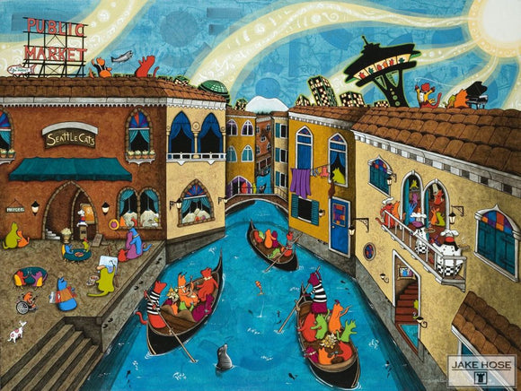 If Seattle Were Venice Whimsical Art By Jake Hose - Fun Whimsical Art 11X14 Print Canvas Giclee Cat Cats