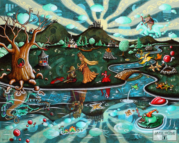 Imagination By Whimsical Artist Jake Hose - Fun Whimsical Art 11X14 Print, 16x20 canvas giclee, 18x24 canvas giclee