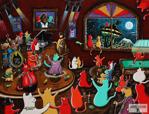 Jazz Cats Whimsical Art By Jake Hose - Fun Whimsical Art 11X14 Print Band Canvas Giclee Cats