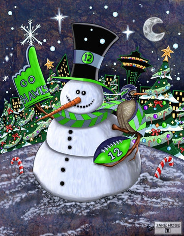 Jolly Hawk Snowman Whimsical Art By Jake Hose - Fun Whimsical Art 11X14 Print, 16x20 canvas giclee, 18x24 canvas giclee