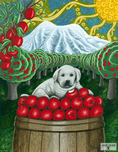 lab, puppy, apple, orchard, pacific northwest, art, whimsical, Jake Hose