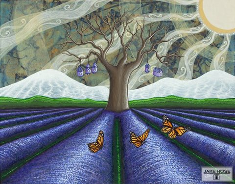 Lavender, flowers, field, monarch butterfly, birdhouses, art, whimsical, Jake Hose