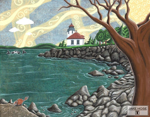 Lime Kiln Lighthouse Whimsical Art By Jake Hose - Fun Whimsical Art 11X14 Print Canvas Giclee Dungeness Crab Firday Harbor