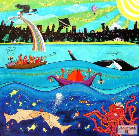 Seattle, cats, orca whales, salmon, octopus, art, whimsical, Jake Hose