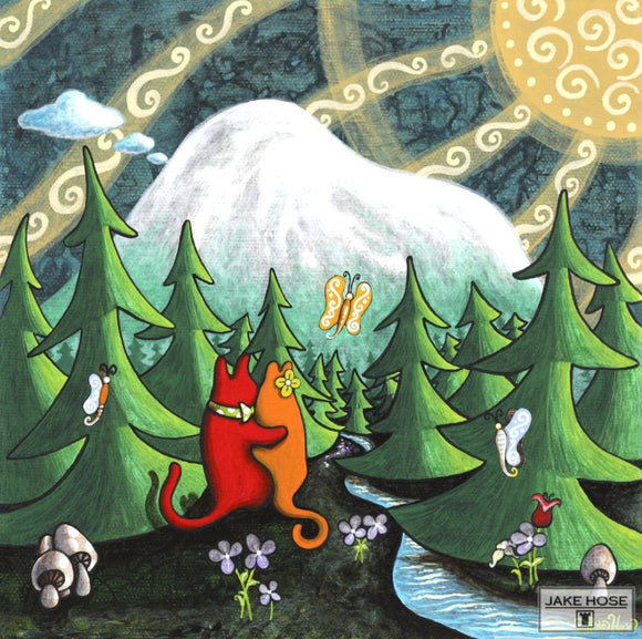 Love Under The Mountain Whimsical Art By Jake Hose - Fun Whimsical Art 11X14 Print, 12x12 canvas giclee, 20x20 canvas giclee